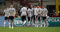 Calcio, Serie A: Milan vs Juventus. Milano, stadio San Siro, 9 aprile 2016.<br /> Juventus&rsquo; Mario Mandzukic, fourth from right, celebrates with teammates after scoring during the Italian Serie A football match between AC Milan and Juventus at Milan's San Siro stadium, 9 April 2016.<br /> UPDATE IMAGES PRESS/Isabella Bonotto