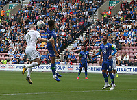 Leeds United's Adam Forshaw beats Wigan Athletic's Antonee Robinson to the ball but his header goes wide of the target<br /> <br /> Photographer Stephen White/CameraSport<br /> <br /> The EFL Sky Bet Championship - Wigan Athletic v Leeds United - Saturday 17th August 2019 - DW Stadium - Wigan<br /> <br /> World Copyright © 2019 CameraSport. All rights reserved. 43 Linden Ave. Countesthorpe. Leicester. England. LE8 5PG - Tel: +44 (0) 116 277 4147 - admin@camerasport.com - www.camerasport.com