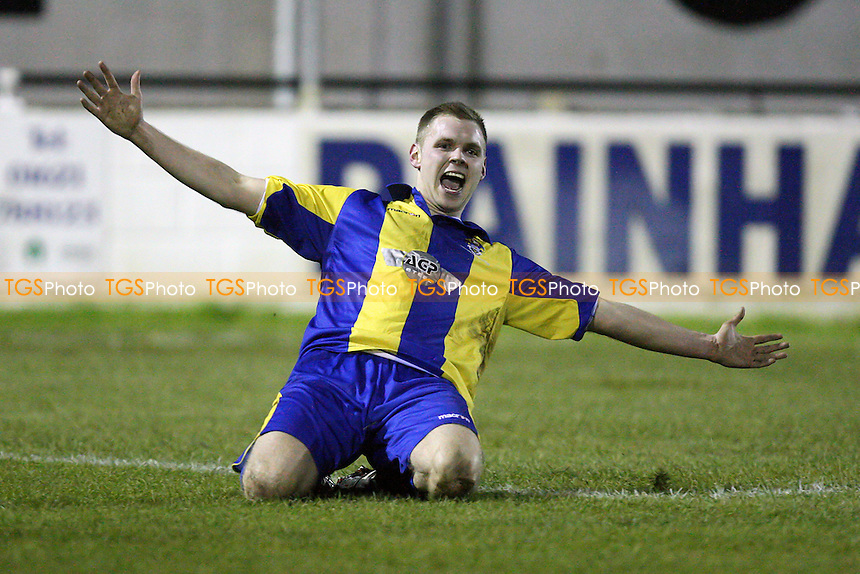 Jack Barry scores the second goal for Romford and celebrates - Heybridge Swifts vs Romford - Ryman League Division One North Football at Scraley Road - 11/01/11 - MANDATORY CREDIT: Gavin Ellis/TGSPHOTO - Self billing applies where appropriate - Tel: 0845 094 6026