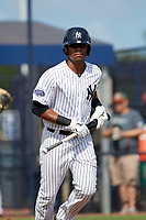 New York Yankees Isiah Gilliam (25) jogs to first base during an Instructional League game against the Baltimore Orioles on September 23, 2017 at the Yankees Minor League Complex in Tampa, Florida.  (Mike Janes/Four Seam Images)