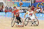 November 18 2011 - Guadalajara, Mexico:   Cindy Ouellet of Team Canada contols the ball while taking on Team USA in the Gold Medal Game in the CODE Alcalde Sports Complex at the 2011 Parapan American Games in Guadalajara, Mexico.  Photos: Matthew Murnaghan/Canadian Paralympic Committee