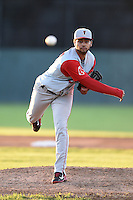 Lowell Spinners pitcher Heri Quevedo (37) delivers a pitch during a game against the Batavia Muckdogs on July 16, 2014 at Dwyer Stadium in Batavia, New York.  Lowell defeated Batavia 6-4.  (Mike Janes/Four Seam Images)