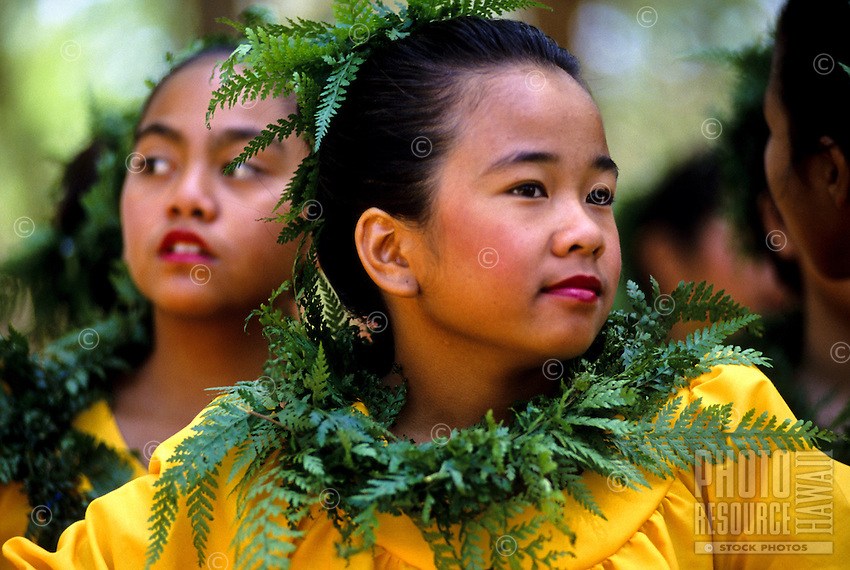 "Keiki (child) hula dancer at ""Ka Hula Piko"" (festival), Moloka'i, Hawaii"