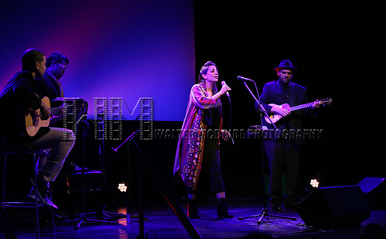 Sophia Rei and band  on stage at the Stage Directors and Choreographers Foundation event honoring Julie Taymor with the Mr. Abbott Award at the Bohemian National Hall on April 2, 2018 in New York City.