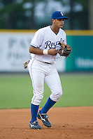Third baseman Fernando Cruz (8) of the Burlington Royals on defense at Burlington Athletic Park in Burlington, NC, Saturday, July 26, 2008. (Photo by Brian Westerholt / Four Seam Images)