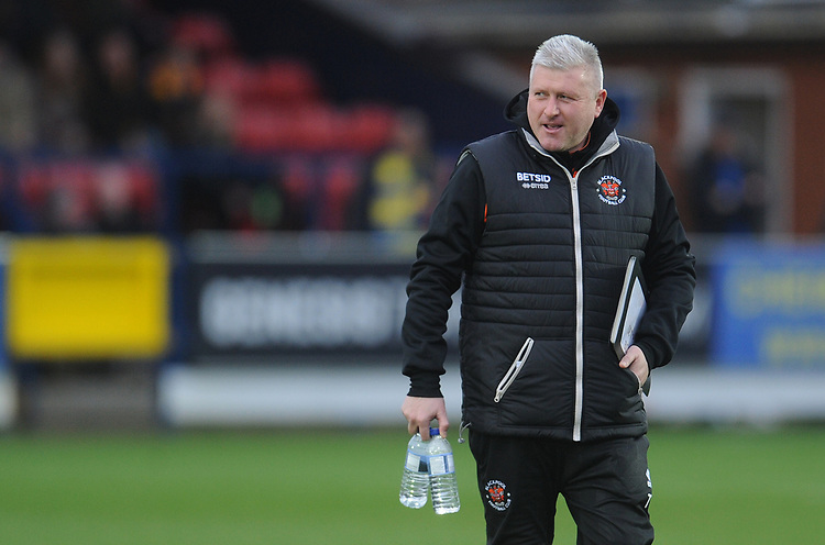 Blackpool's Manager Terry McPhillips<br /> <br /> Photographer Kevin Barnes/CameraSport<br /> <br /> The EFL Sky Bet League One - AFC Wimbledon v Blackpool - Saturday 29th December 2018 - Kingsmeadow Stadium - London<br /> <br /> World Copyright © 2018 CameraSport. All rights reserved. 43 Linden Ave. Countesthorpe. Leicester. England. LE8 5PG - Tel: +44 (0) 116 277 4147 - admin@camerasport.com - www.camerasport.com