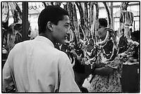 Uzbekistan - Tashkent - Butcher at Chorsu Bazaar.