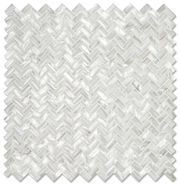 Herringbone 1 x 2 cm, shown in pillowed Shell is part of New Ravenna's Studio Line of ready to ship mosaics.