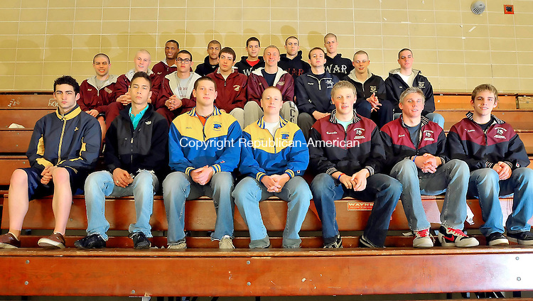 WATERBURY, CT-26 MARCH 2010-032610JS02-Members of the All-NVL Boys Swin team, front row, from left, Joseph Polaco-Kennedy; Eric Briere-Holy Cross; Nick Blade-Seymour; Tyler Tallcouch-Seymour; Raymone Cswerko-Torrington; Eric Traub-Torrington and Ryan Andrews-Torrington. Second row, from left, Nick Kobani-Sacred Heart; Ray Snyder IV-Sacred Heart; Edward Garrity-Sacred Heart; Jacob Loschiavo-Sacred Heart; Kelly Dullard-Sacred Heart; Jimmy Norris-Ansonia; Adam Trumbley-Wodbury and Patrick O'Dell-Woodland. Back row, from left, Stephen Ettiene-Sacred Heart; William Wright-Naugatuck; James Vaz-Naugatuck; Trevor Heller-Naugatuck and Kyle Conrad-Naugatuck. Not pictured are Chris Branco-Naugatuck; Chrysta Currier-Torrington; Dalton Fennell-Naugatuck and Paul Woodruff-Sacred Heart. <br /> Jim Shannon Republican-American