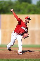 Auburn Doubledays starting pitcher Wilber Pena (19) delivers a pitch during a game against the Mahoning Valley Scrappers on June 19, 2016 at Falcon Park in Auburn, New York.  Mahoning Valley defeated Auburn 14-3.  (Mike Janes/Four Seam Images)