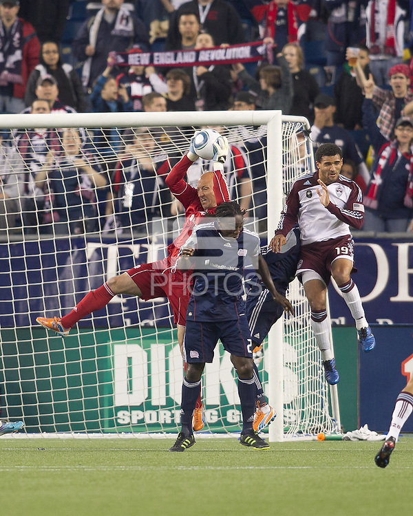 New England Revolution goalkeeper Matt Reis (1) makes a save. In a Major League Soccer (MLS) match, the New England Revolution tied the Colorado Rapids, 0-0, at Gillette Stadium on May 7, 2011.