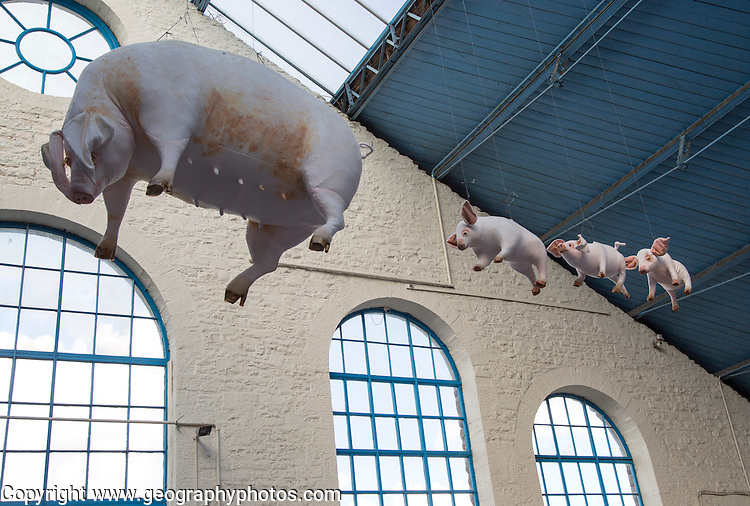 Flying pigs inside Market Hall building, Abergavenny, Monmouthshire, South Wales, UK