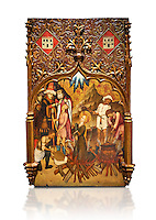 Gothic altarpiece tableau of the Archangel Gabriel  by Joan Mates of Vlafranca de Penedes, circa 1410-1430, tempera and gold leaf on for wood from the church of Santa Maria de Penafel, Alt Penedes, Spain.  National Museum of Catalan Art, Barcelona, Spain, inv no: MNAC  214533. Against a white background.