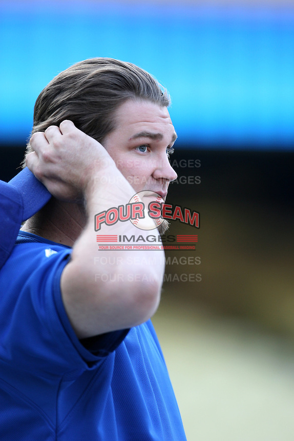 Brad Penny of the Los Angeles Dodgers during batting practice before a 2007 MLB season game at Dodger Stadium in Los Angeles, California. (Larry Goren/Four Seam Images)