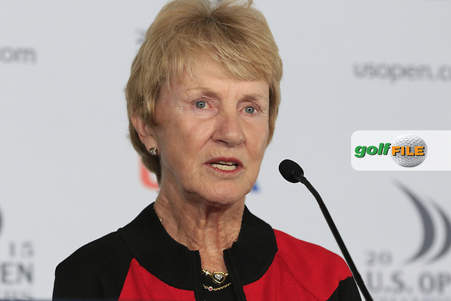 Barbara and Jack Nicklaus speak about Barbara receiving the Bob Jones Award during Tuesday's Practice Day of the 2015 U.S. Open 115th National Championship held at Chambers Bay, Seattle, Washington, USA. 6/16/2015.<br /> Picture &copy; Golffile/Eoin Clarke