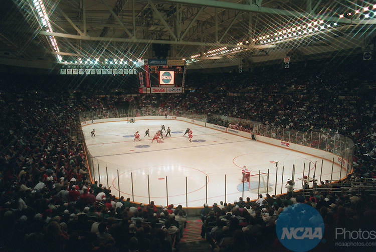 Caption: Maine and Boston University face off for the Division I Hockey Championship April 1, 1995 in Providence, Rhode Island. Boston University won the championship by defeating Maine 6-2. Monty Rand/NCAA Photos