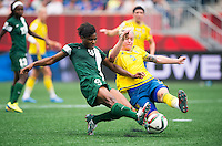 Winnipeg, Canada- June 8, 2015:  Sweden tied Nigeria 3-3 during the opening game of group D during the FIFA Women's World Cup at Winnipeg Stadium.