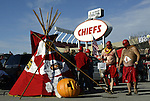 31 October 2004: Chiefs fans enjoy halloween tailgating before the game. The Kansas City Chiefs defeated the Indianapolis Colts 45-35 at Arrowhead Stadium in Kansas City, MO in a regular season National Football League game...