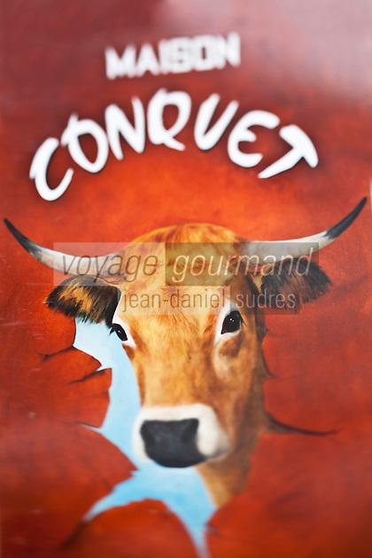 Europe/France/Midi-Pyrénées/12/Aveyron/Aubrac/Laguiole: Lucien Conquet Boucher Charcutier _ Enseigne de la boucherie représentant une tête de vache Aubrac