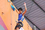 Tomoa Narasaki (JPN), <br /> AUGUST 25, 2018 - Sport Climbing : <br /> Men's Combined Qualification Lead <br /> at Jakabaring Sport Center Sport Climbing <br /> during the 2018 Jakarta Palembang Asian Games <br /> in Palembang, Indonesia. <br /> (Photo by Yohei Osada/AFLO SPORT)