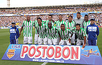 BOGOTA -COLOMBIA. 09-02-2014. Formacion del Atletico  Nacional contra Millonarios  partido por la cuarta fecha de La liga Postobon 1 disputado en el estadio El Campin. / Team of Atletico  Nacional  against  Nacional  during the match for the four date of the Postobon one league match at El Campin  Stadium Photo: VizzorImage/ Felipe Caicedo / Staff