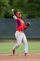 Philadelphia Phillies Edgar Duran (11) during a minor league spring training intrasquad game on March 27, 2015 at the Carpenter Complex in Clearwater, Florida.  (Mike Janes/Four Seam Images)