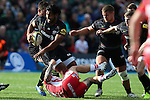 Saracens' Billy Vunipola runs over Gloucester's Richard Hibbard- Rugby Union - 2014 / 2015 Aviva Premiership - Saracens vs. Gloucester - Allianz Park Stadium - London - 11/10/2014 - Pic Charlie Forgham-Bailey/Sportimage