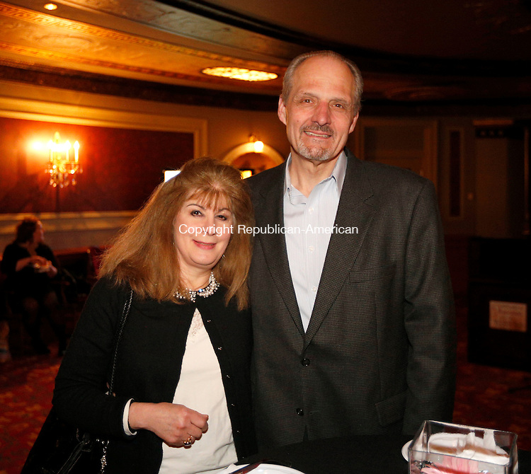 Waterbury, CT- 09 April 2015-040915CM16-  Social moments--- From left, Deborah and Thomas Raducha of Cheshire are photographed during Acts 4 Ministry's fundraising reception on Thursday, April 9, 2015 at the Palace Theater in Waterbury.  Christopher Massa Republican-American