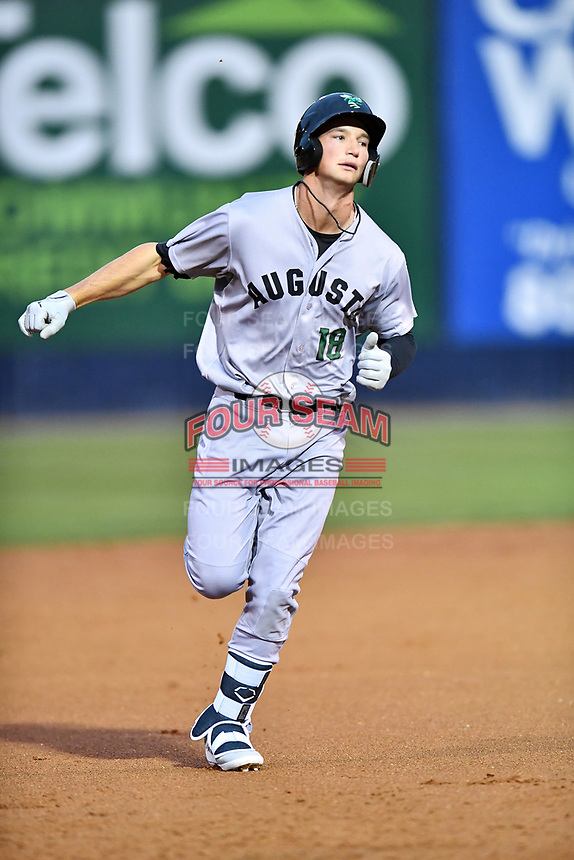 Augusta GreenJackets third baseman Jacob Gonzalez (18) rounds the bases after hitting a home run during a game against the Asheville Tourists at McCormick Field on April 4, 2019 in Asheville, North Carolina. The GreenJackets defeated the Tourists 9-5. (Tony Farlow/Four Seam Images)