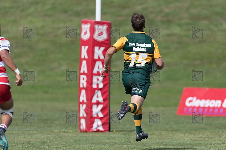 Jamie King sprints to the tryline after intercepting Kalione Hala's pass. Counties Manukau Premier Counties Power Club Rugby game between Karaka and Pukekohe, played at the Karaka Sports Park on Saturday March 10th 2018. Pukekohe won the game 31 - 27 after trailing 5 - 20 at halftime.<br /> Photo by Richard Spranger.