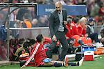 FC Bayern Munchen's coach Pep Guardiola with Thiago Alcantara during Champions League 2015/2016 Semi-Finals 1st leg match. April 27,2016. (ALTERPHOTOS/Acero)