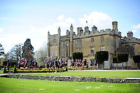 The Bath Rugby players make their way onto the field. Bath Rugby training session on May 3, 2016 at Farleigh House in Bath, England. Photo by: Patrick Khachfe / Onside Images