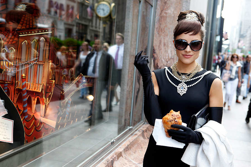 Miss USA 2012, Olivia Culpo, 20, brings to life Audrey Hepburn in front of Tiffany's jewelry store on 5th Ave, Manhattan, NY on Thursday, June 7, 2012.