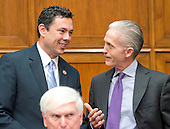 United States Representative Jason Chaffetz (Democrat of Utah), Chairman, US House Committee on Oversight and Government Reform, left, and US Representative Trey Gowdy (Republican of South Carolina), Chairman, US House Select Committee on the Events Surrounding the 2012 Terrorist Attack in Benghazi, Libya, right, share a conversation prior to hearing FBI Director James Comey give testimony before the United States House Committee on Oversight and Government Reform following his announcement on Tuesday that he would recommend not to prosecute former US Secretary of State Hillary Clinton for maintaining a private server on Capitol Hill in Washington, DC on Thursday, July 7, 2016.<br /> Credit: Ron Sachs / CNP<br /> (RESTRICTION: NO New York or New Jersey Newspapers or newspapers within a 75 mile radius of New York City)