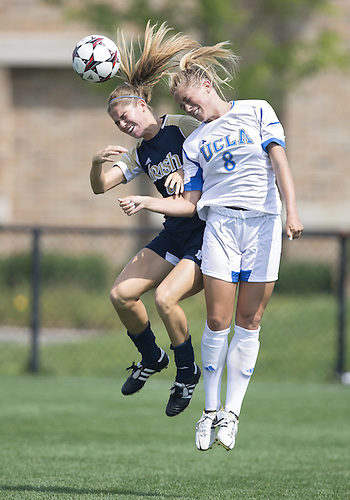 September 01, 2013:  Notre Dame midfielder Morgan Andrews (3) and UCLA defender Abby Dahlkemper (8) during NCAA Soccer match between the Notre Dame Fighting Irish and the UCLA Bruins at Alumni Stadium in South Bend, Indiana.  UCLA defeated Notre Dame 1-0.