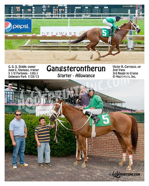 Gangsterontherun winning at Delaware Park on 7/27/13