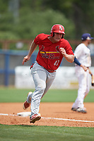 Palm Beach Cardinals Luken Baker (47) running the bases during a Florida State League game against the Charlotte Stone Crabs on April 14, 2019 at Charlotte Sports Park in Port Charlotte, Florida.  Palm Beach defeated Charlotte 5-3.  (Mike Janes/Four Seam Images)