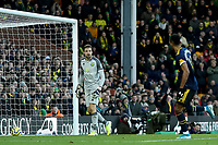 1st December 2019; Carrow Road, Norwich, Norfolk, England, English Premier League Football, Norwich versus Arsenal; Tim Krul of Norwich City reacts as Pierre-Emerick Aubameyang of Arsenal scores the retaken penalty - Strictly Editorial Use Only. No use with unauthorized audio, video, data, fixture lists, club/league logos or 'live' services. Online in-match use limited to 120 images, no video emulation. No use in betting, games or single club/league/player publications