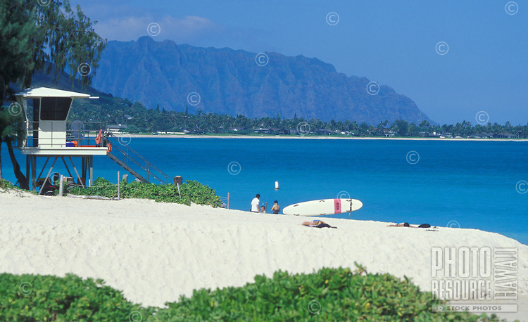 Kailua Beach Park, with lifeguard tower, white sand, mountains, and blue sea