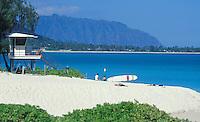 Kailua Beach Park, with lifeguard tower, white sand, mountains, and blue sea