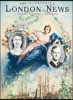BNPS.co.uk (01202 558833)<br /> Pic: TerenceCuneo/Christies/BNPS<br /> <br /> ***Use Full Byline***<br /> <br /> THe front cover of The Illustrated London News Royal Wedding edition to commemorate the marriage of Princess Elizabeth and Philip Mountbatten, Duke of Edinburgh, November 1947. <br /> <br /> Original art work chronicling major historical moments in British history that was for the world's first illustrated magazine is being sold at auction.<br /> <br /> The colourful drawings were for the front pages of The Illustrated London News and depict key events in the 20th century including the Royal wedding of Queen Elizabeth II and Phillip Mountbatten.<br /> <br /> Other moments in history illustrated include the coverage of both world wars and the Festival of Britain.<br /> <br /> The work is being sold by auctioneers Christie's in October