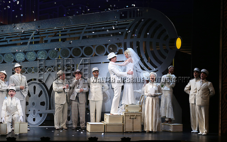 Andy Karl, Michael McGrath, Mark Linn-Baker, Peter Gallagher, Kristin Chenoweth, Mary Louise Wilson and the cast during the Opening Night Performance Curtain Call for 'On The 20th Century' at the American Airlines Theatre on March 12, 2015 in New York City.