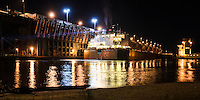 The 1000' freighter, James R. Barker, navigating backwards into the Upper Harbor Ore Dock at night. Marquette, MI
