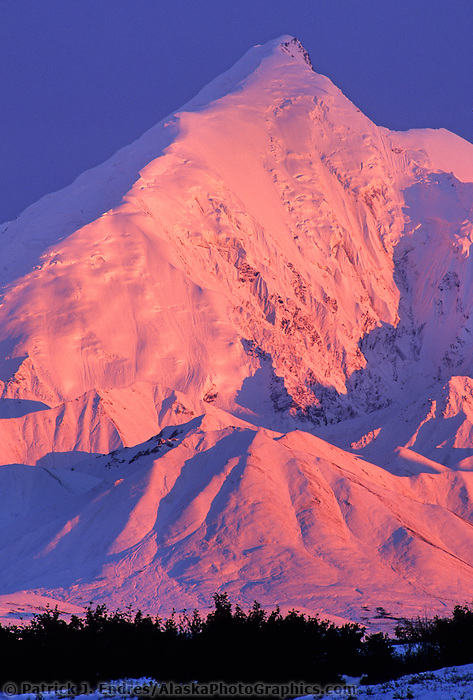 Pink alpenglow on the snow covered mt Brooks of the Alaska Range mountains. Denali National Park, Alaska.