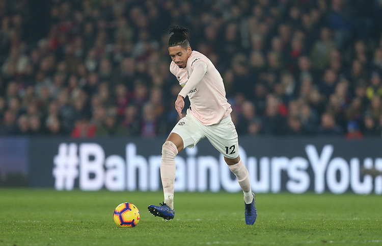 Manchester United's Chris Smalling<br /> <br /> Photographer Rob Newell/CameraSport<br /> <br /> The Premier League - Wednesday 27th February 2019  - Crystal Palace v Manchester United - Selhurst Park - London<br /> <br /> World Copyright © 2019 CameraSport. All rights reserved. 43 Linden Ave. Countesthorpe. Leicester. England. LE8 5PG - Tel: +44 (0) 116 277 4147 - admin@camerasport.com - www.camerasport.com
