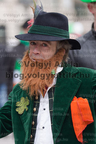 Revellers participate in a Saint Patrick's day celebration march in Budapest, Hungary on March 17, 2013. ATTILA VOLGYI