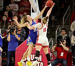 VERMILLION, SD - JANUARY 19: Tagyn Larson #24 of the South Dakota State Jackrabbits blocks the shot of Monica Arens #11 of the South Dakota Coyotes at the Sanford Coyote Center on January 19, 2020 in Vermillion, South Dakota. (Photo by Dave Eggen/Inertia)