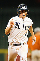 Shane Hoelscher #2 of the Rice Owls hustles towards third base against the Texas Longhorns at Minute Maid Park on March 2, 2012 in Houston, Texas.  The Longhorns defeated the Owls 11-8.  (Brian Westerholt/Four Seam Images)