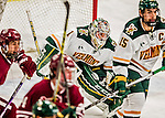 15 November 2015: University of Vermont Catamount Goaltender Mike Santaguida, a Junior from Mississauga, Ontario, in third period action against the University of Massachusetts Minutemen at Gutterson Fieldhouse in Burlington, Vermont. The Minutemen rallied from a three goal deficit to tie the game 3-3 in their Hockey East matchup. Mandatory Credit: Ed Wolfstein Photo *** RAW (NEF) Image File Available ***