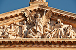 Statues on the facade of the National Library, founded by King Philip V in 1712